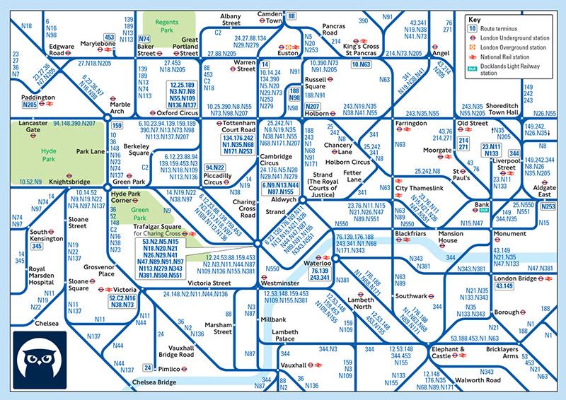 El horror del plano de los buses nocturnos de Londres