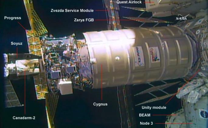 Cygnus OA–6A acoplada a la EEI