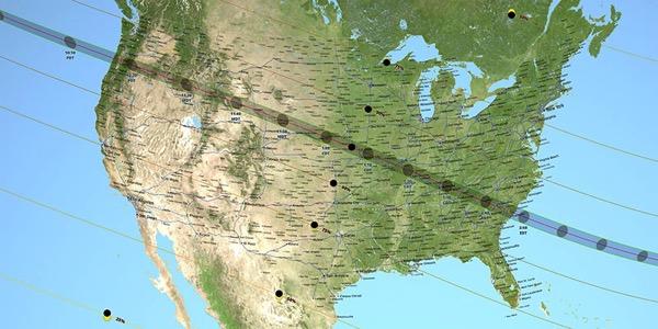 Trayectoria del eclipse sobre los EE UU