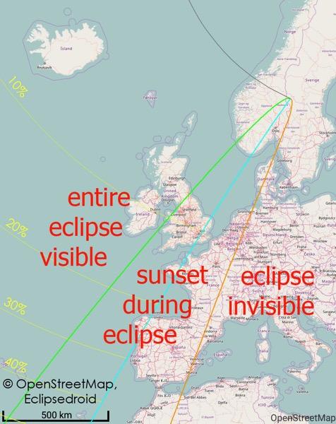 El eclipse de agosto de 2017 desde Europa