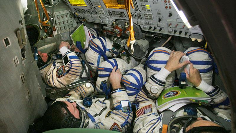 En el simulador de la Soyuz