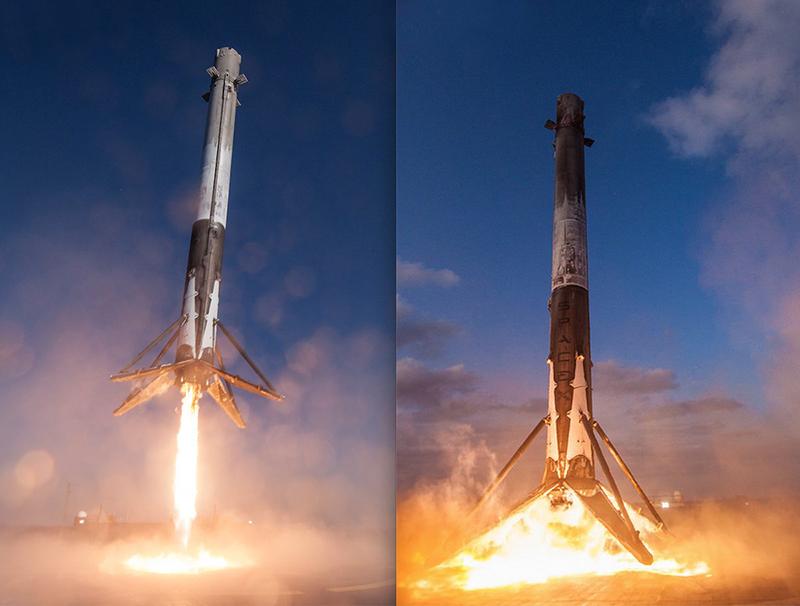 Los dos aterrizajes del Falcon 9 #1021