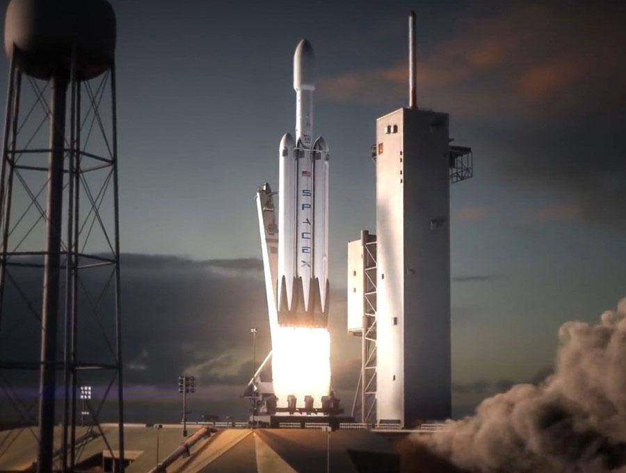 Impresión artística del lanzamiento de un Falcon Heavy