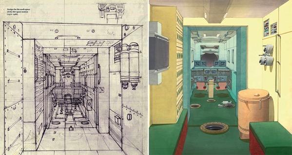 Bocetos del interior de la Mir