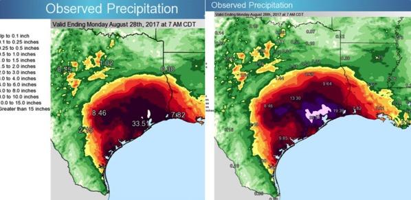 Mapas de precipitaciones antes y después de Harvey