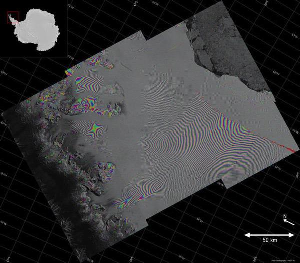 Interferograma de la barrera de Larsen C - Abril 2017