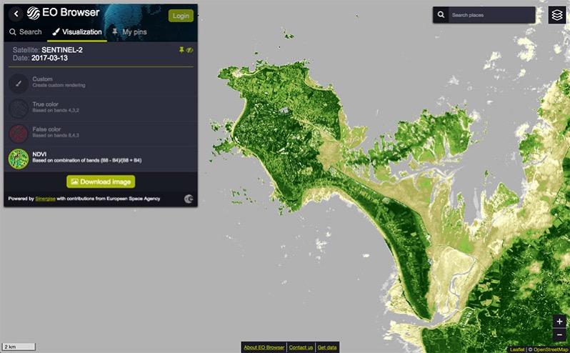 Imagen NDVI de la isla de Noirmoultier