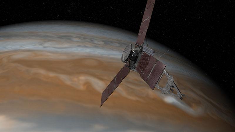 Impresión artística de Juno sobre Júpiter