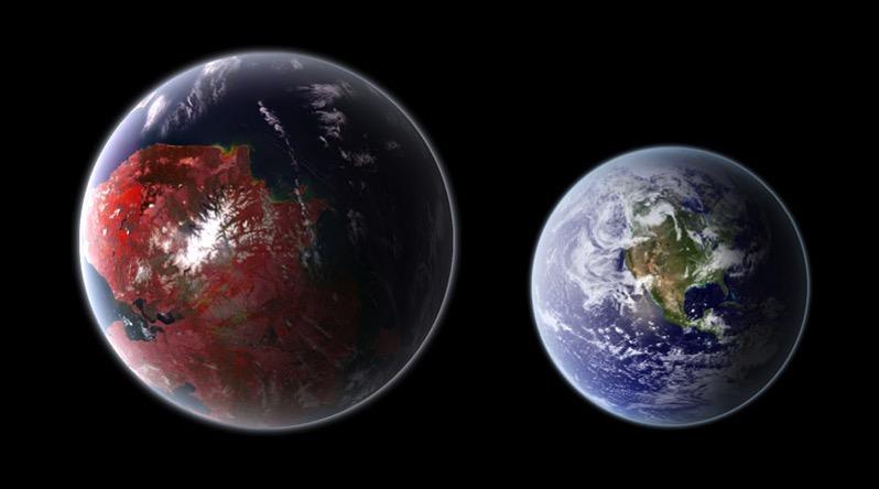 Impresión artística de Kepler–442b junto a la Tierra