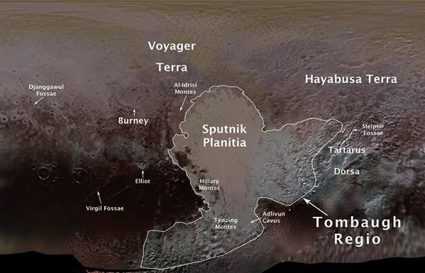 Primeros nombres oficiales en Plutón
