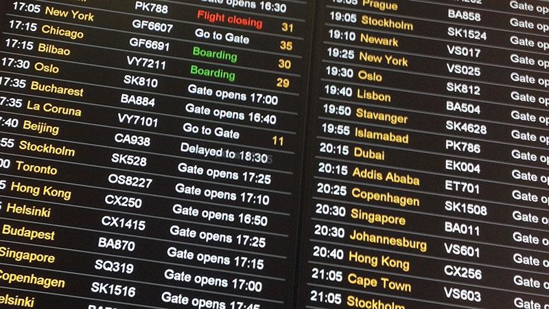 Panel de vuelos en Heathrow
