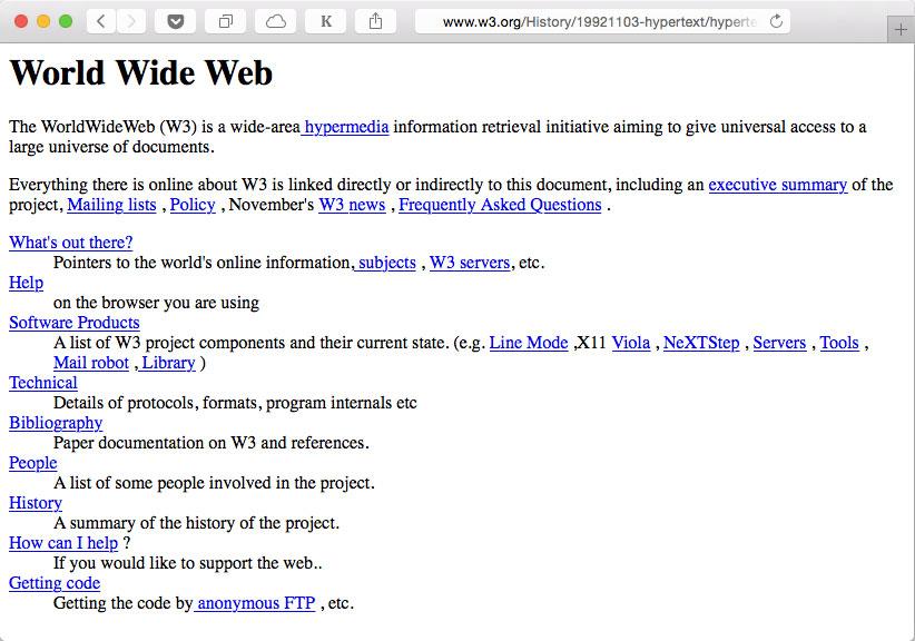Primera página web de la historia