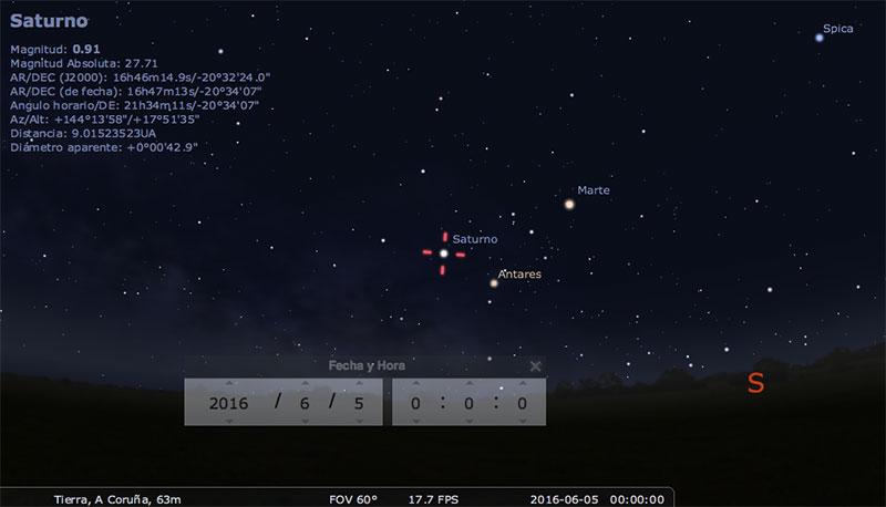 Saturno en Stellarium