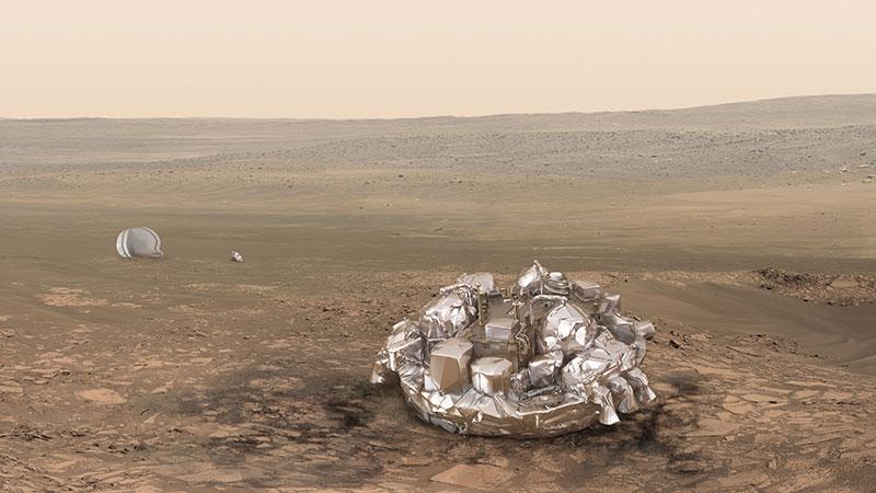 Schiaparelli en la superficie de Marte