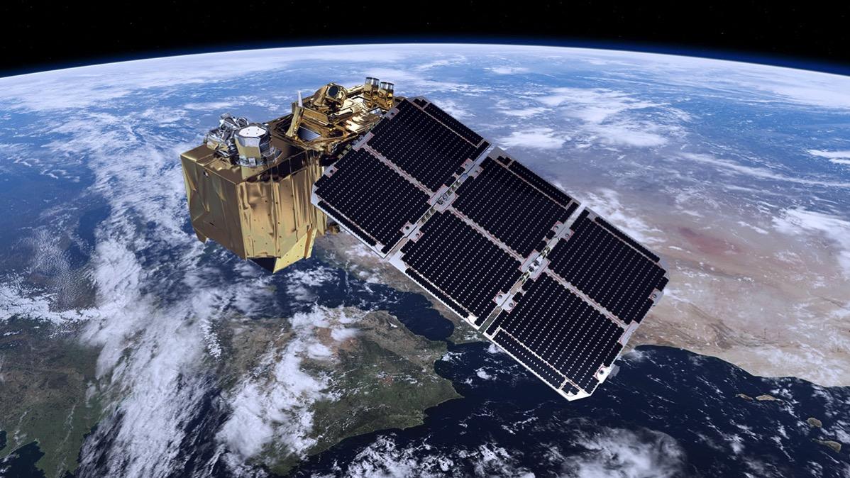 Impresión artística de un Sentinel-2 en en órbita