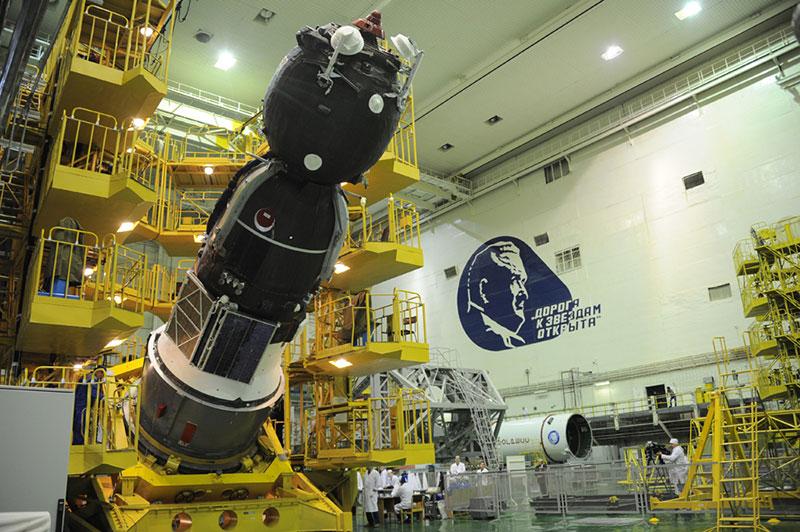 La Soyuz MS-03 durante su procesado