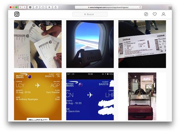 Tarjetas de embarque en Instagram