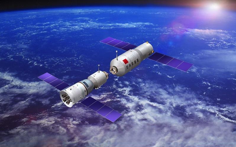 Shenzhou 11 en primer plano y el Tiangong 2