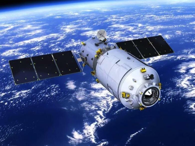 Impresión artística del Tianzhou en órbita