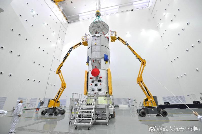 El Tianzhou-1 durante los preparativos para su lanzamiento
