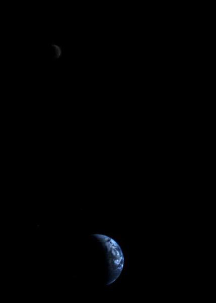 La Tierra y la Luna vistas por la Voyager 1
