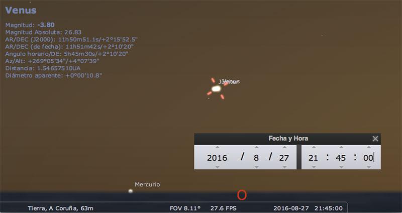 Venus y Júpiter en agosto de 2016