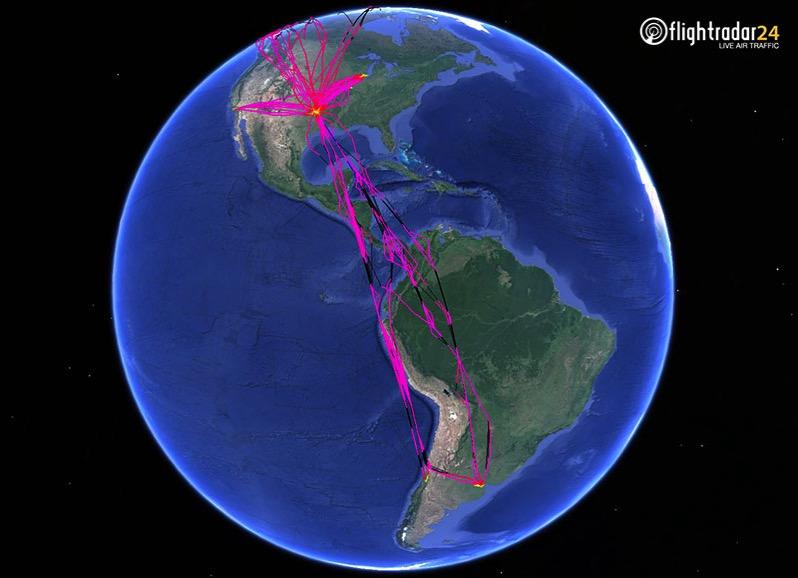 Vuelos del N800AN en el hemisferio oeste