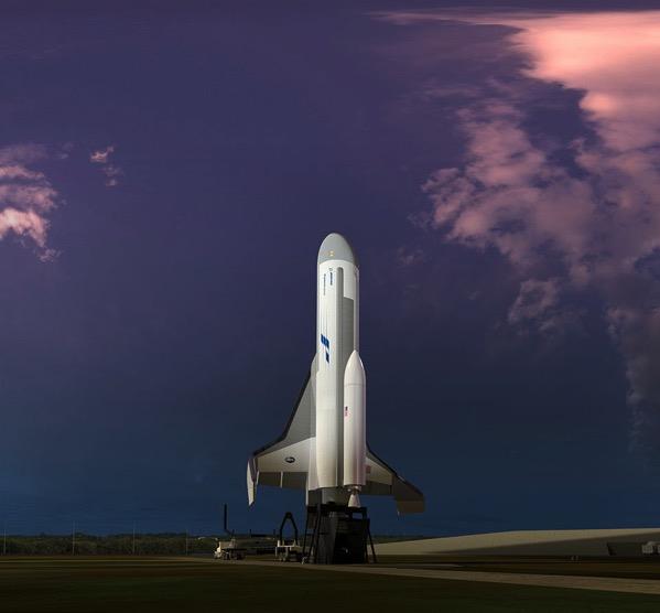 Concepción artística del XS-1 listo para su lanzamiento